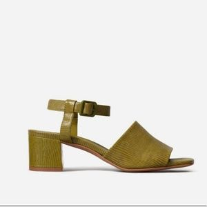 Everlane The Block Heel Sandal Square Toe Green